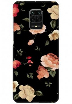 Redmi Note 9 Pro Back Cover Case - Beautiful Floral In Black