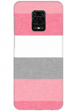 Redmi Note 9 Pro Back Cover Case - Pink Grey White Stripes